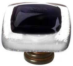 View the Sietto K-700 Reflective Series 1-1/4 Inch Square Cabinet Knob with Black Glass at PullsDirect.com.