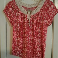 Crochet and cotton top Red and cream top with crocheted neckline Lucky Brand Tops