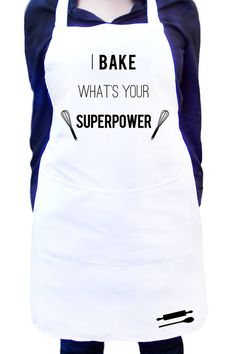 I bake, what's your superpower, White kitchen apron with colour detail, Full bib… Funny Aprons, Cool Aprons, Aprons For Men, Modern Aprons, Gifts For A Baker, Baking Apron, Kitchen Quotes, Personalized Aprons, White Apron