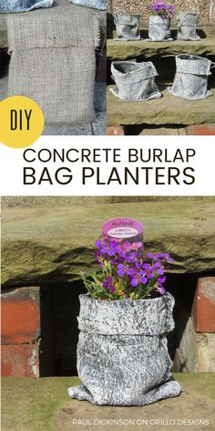 23 Repurposed Planter Ideas For Your Home & Garden Clever planter ideas - Browse this awesome collection of repurposed and DIY planters for your home and garden. Be inspired by creativity! Concrete Bags, Diy Concrete Planters, Concrete Garden, Diy Planters, Garden Planters, Planter Ideas, Log Planter, Succulent Planters, Balcony Garden