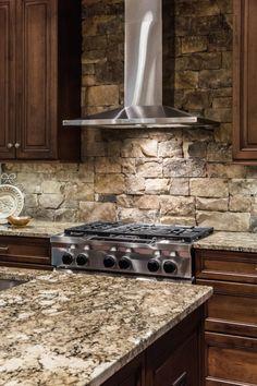 spanish style kitchen design with saltillo tile floors and talaverastone backsplash ideas favorite places spaces pinterest stone backsplash - Kitchen Stove Backsplash Ideas