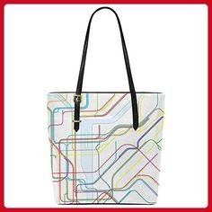 InterestPrint Subway Map of New York City PU Leather Tote Bag Shoulder Handbag for Women Girls - Totes (*Amazon Partner-Link)