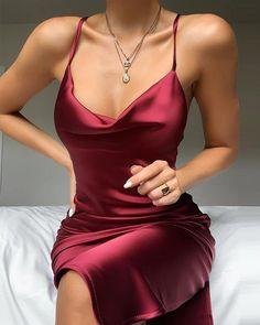 Buy Plunge Neck Satin Mini Dress in the online store – TopTrendBrand – Mode Satin Mini Dress, Satin Dresses, Elegant Dresses, Pretty Dresses, Beautiful Dresses, Formal Dresses, Sexy Dresses, Wedding Dresses, Summer Dresses