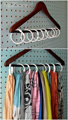 Instead of devoting a hanger to each of your scarfs (or worse, knotting multiples on one and causing major wrinkles), use shower rings to create individual holders for your entire collection. Click th (Diy Closet) Scarf Organization, Home Organization, Organizing Ideas, Organizing Shoes, Walk In Closet Organization Ideas, Organisation Ideas, Master Closet, Closet Bedroom, Diy Bedroom