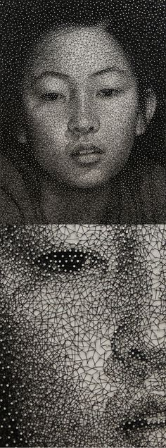 Kumi Yamashita. Amazing artist, portrait made from a single thread wrapped around thousands of nails.