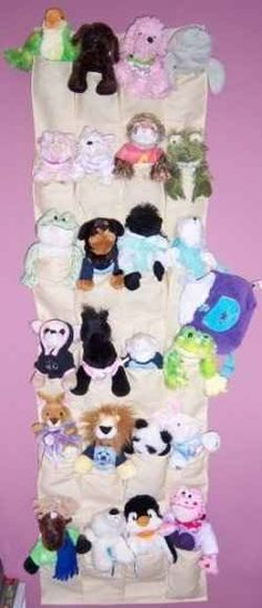 You can use an over-the-door shoe organize for stuffed animal storage