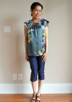 Lucian Matis Sample Sale Item: Charcoal Grey Floral Top.. Same as the other picture, this time wearing Allison Izu capris and Banana Republic shoes cc: @Independent Fashion Bloggers