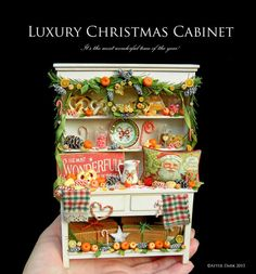 Luxury Christmas Cabinet - Artisan fully Handmade Miniature in 12th scale. From After Dark miniatures.