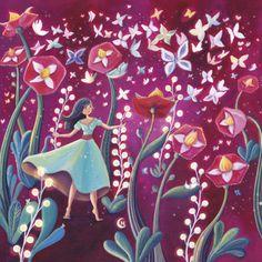 """Marie Cardouat  carte postale carrée (14 cm)  """"Le jardin enchanté"""""""