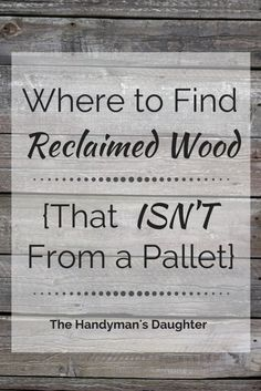 Pallet Woodworking Want the rustic look of reclaimed wood for your DIY project? Don't resort to tearing apart questionable pallets! These handy tips will get you the look you want with less effort! - The Handyman's Daughter Reclaimed Wood Projects, Diy Pallet Projects, Pallet Ideas, Rustic Wood Crafts, Wood Ideas, Diy Projects With Wood, Reclaimed Wood Signs, Reclaimed Lumber, Reclaimed Wood Furniture