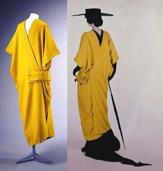 Poiret - Mantle c.1913. Wool, lined with silk chiffon, hand-sewn. This mantle is made of bright yellow wool and lined with black chiffon. http://collections.vam.ac.uk/