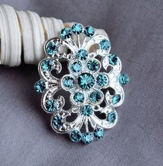 5 Teal Aqua Tiffany Blue Rhinestone Button Crystal Embellishment Wedding Brooch Bouquet Cake Hair Comb Shoe Clip Supply BT442. $7.45, via Etsy.