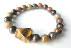 Mens Gemstone Stretch Bracelet  Brown Mens by JemsbyJBandCompany