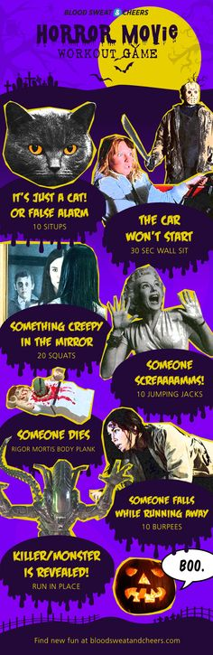 Horror Movie Workout and Drinking Game - 'Tis the season to be frightened, so whether you're a horror movie buff or hate scary flicks, this workout (or drinking) game will help you have more fun while freaking out.