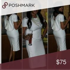 White Escada drape dress Elegant chic escada drape knee length dress...this is by far my most favorite dress but because I put on a lot of weight I can no longer fit in it. The size and fit is absolutely perfect. Escada Dresses