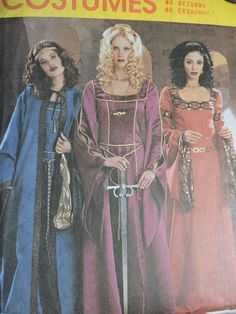 Cape & Dress Medieval Maiden Historic Costume Stage Play McCall's 3663 Pattern Size 6 through to 12 Medieval Costume, Medieval Dress, Medieval Fantasy, Halloween Costume Patterns, Halloween Costumes, Billy The Kids, Fashion Patterns, Stage Play, Cape Dress