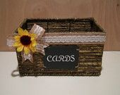 Rustic Country Burlap, Lace and Sunflower Wedding Card Basket Box
