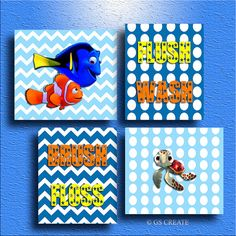Finding NEMO DORY SQUIRT Baby Boy Gift Bathroom Wall By GScreate