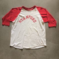 "Stanford Raglan size Large. 27"" collar to hem x 22"" pit to pit. $40+$8(shipping) domestic. Sold as is. DM for Inquiries. Contact the shop at 415-796-2398 to purchase by phone or PayPal afterlifeboutique@gmail and reference item in post."