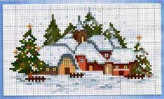 punto croce kit #Puntocroce Cross Stitch House, Xmas Cross Stitch, Cross Stitch Charts, Cross Stitch Designs, Cross Stitching, Cross Stitch Embroidery, Cross Stitch Patterns, Cross Stitch Pictures, Theme Noel