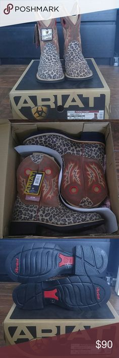 """NWT Ariat Fatbaby Cowgirl Boots 8"""" shaft Leopard print double stitched saddle vamp round toe Shaft is light brown with red and orange stitching Nothing wrong with these just looking for a cheetah/leopard print square toe instead of round toe.  Accepting offers, baby is due any day now and I'm trying to have these gone!! Ariat Shoes"""