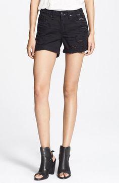 rag & bone/JEAN Destructed Boyfriend Shorts (Black Rebel) available at #Nordstrom