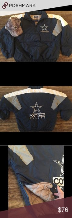 "COWBOYS TEAM NFL HALF ZIP QUILTED JACKET SIZE L This is a Team NFL Dallas Cowboys Chalk line officially Licensed Product 1/2 zip pullover jacket, excellent preowned condition, it has a zip up 1/2 front, hand pouch a zipper in front of the pouch. Chest measures 28"" across, length measures 26 1/2"" arm length from the collar is 32 1/2"". Embroidered logo's. The shell & lining is 100% Nylon, insulation is 100% poly. Zipper opening on one side of waist. Zip on the back of collar no hat. Cap is…"
