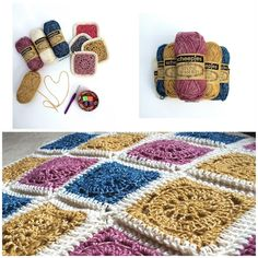 Vintage Blanket, free crochet pattern & tutorial (54 squares + 13 skeins of Scheepjeswol Stonewashed) | Made with Loops