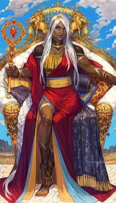 King of Wands Anise on her majestic throne.