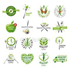 Large set of vector logos healthy eating stock vector Healthy Food Quotes, Healthy Recipes, Menu Design, Logo Design, App Design, Stock Image, Floral Logo, Health Logo, Logo Food