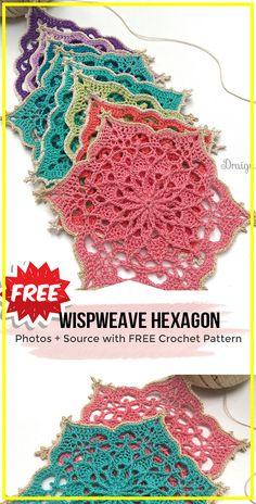 crochet Wispweave Hexagon Doily free pattern - easy crochet doily pattern for beginners # crochet motif patterns free crochet Wispweave Hexagon Doily free pattern Crochet Feather, Thread Crochet, Crochet Crafts, Crochet Projects, Easy Crochet, Art Projects, Free Crochet Doily Patterns, Granny Square Crochet Pattern, Crochet Doilies