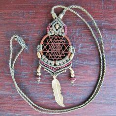 Small Sri Yantra Macrame Pendant Necklace