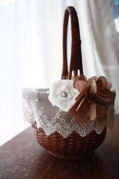 New Rustic Flower Girl Basket on Etsy!  https://www.etsy.com/listing/169824091/rustic-flower-girl-basket?