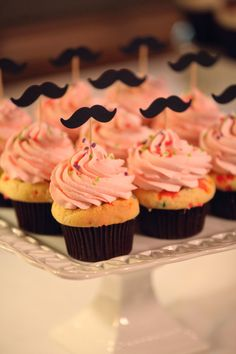 We love cupcakes. We love mustaches. Mustache cupcake toppers? Sheer perfection. #etsy