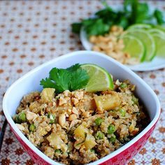 Fried Thai Quinoa    Veg Swap: Use vegetable broth and make a chickpea scramble to substitute egg.