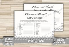 Printable Baby Animal Name Game Chevron - Baby Shower Animal Name Game White Gray Chevron Theme for boy or for girl - Instant Download - gc1 by DigitalitemsShop on Etsy