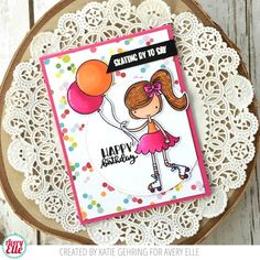 Katie Gehring for Avery Elle Skating By Clear Stamps Die: Skating By Elle-ments Dies Die: Double Pierced Circles Elle-ments Dies The Every Day Collection paper pad The Sugar Collection A2 Folded Cards New Moon Dye ink