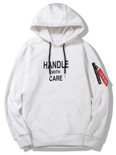 Up to 80% OFF! Flocking Handle With Care Graphic Hoodie. Zaful,man hoodies, mens hoodies, man sweatshirts, man tops, man hoodies casual, man outfits, men's apparel,hoodies,  hoodies men swag, hoodies men pullover, jackets men, t-shirts,mens shirts,long sleeve t shirts,v neck t shirts,  winter outfits,winter fashion,fall outfits,fall fashion, halloween costumes,halloween,halloween outfits,halloween tops. @zaful Extra 10% OFF Code:ZF2017