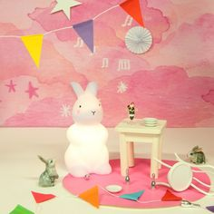Lit with warm white LEDs, this adorable rechargeable bunny rabbit night light has two brightness settings to reassure kids at night. Cute Bunny, Bunny Rabbit, White Light, Light Up, The Glow Company, Bedroom Lighting, Lighting Ideas, Kids Bedroom