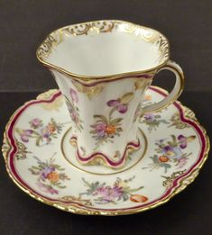 Hard to find antique Dresden Floral Chocolate Coffee Tea Cup & Saucer, gilded with gold.