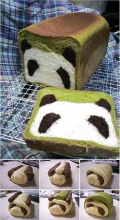 Panda Bread Adorable (and delicious) Panda Bread loaf made with matcha and cocoa!Adorable (and delicious) Panda Bread loaf made with matcha and cocoa! Cute Food, Good Food, Yummy Food, Panda Cakes, Creative Food, Bread Recipes, Cake Recipes, Foodies, Food Porn