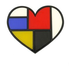 Mondrian Style Heart Brooch ❤ liked on Polyvore featuring jewelry, brooches, retro jewelry, laser cut jewellery, heart brooch, laser-cut jewelry and heart jewellery