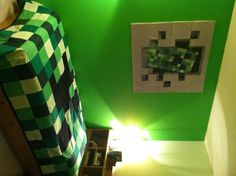 Son's Minecraft room almost complete thanks to handmade Creeper quilt by Nicannmardee designs (www.nicannmardee.ca). Now I just need a square lamp!