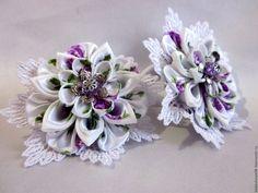 Купить резиночки для волос - белый, цветочный, для волос, украшения ручной работы, канзаши, для девочки
