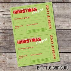 Printable Christmas Coupons / DIY Holiday Vouchers Template /