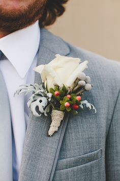 Boutonniere by Holly's Wedding Flowers, Tin Sparrow Photography. Bride Flowers, Silk Flowers, Wedding Flowers, Holly Flower, Destination Wedding, Wedding Day, Groom Boutonniere, Wedding Gallery, Floral Wedding