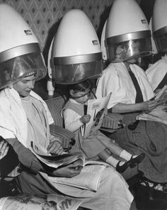 Everyone went under the dryer ---- the days before the blow dryer!