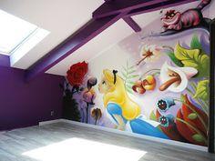 """GIMUS: Décoration chambre d'enfant graffiti """" Alice au pays des merveilles """""""