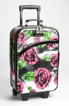 betsey johnson rolling carry on in black floral