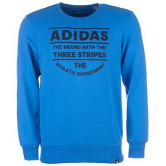 adidas Blue Mens Athletic D Crew Sweatshirt via Polyvore featuring men's fashion, men's clothing, men's hoodies, men's sweatshirts, mens hoodie, mens blue hoodies, mens royal blue sweatshirt, mens sweatshirts and hoodies and mens hoodies